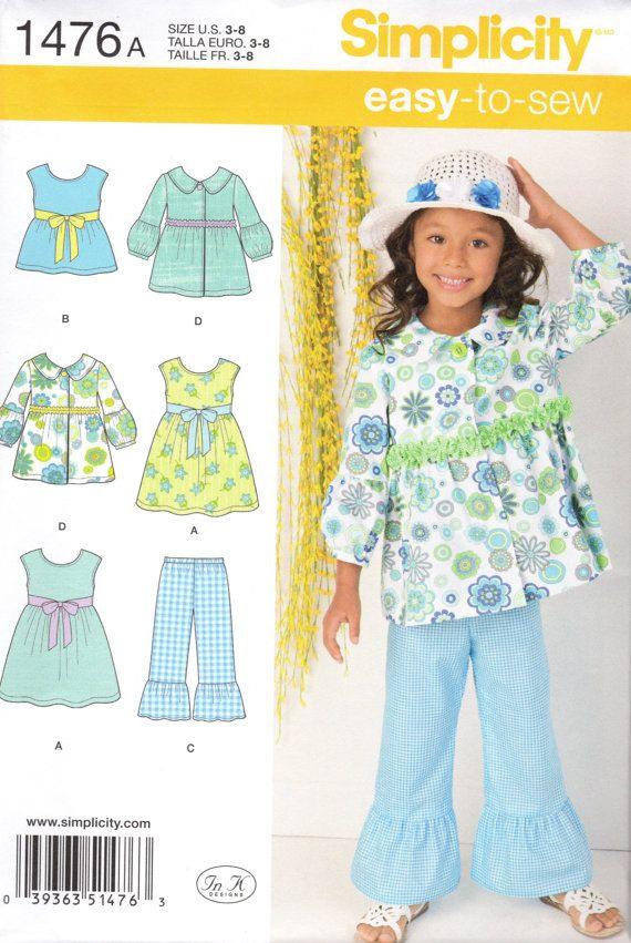 Simplicity Sewing Pattern 1476 Child\'s Dress by HOUSEOFBLAIRLLC ...