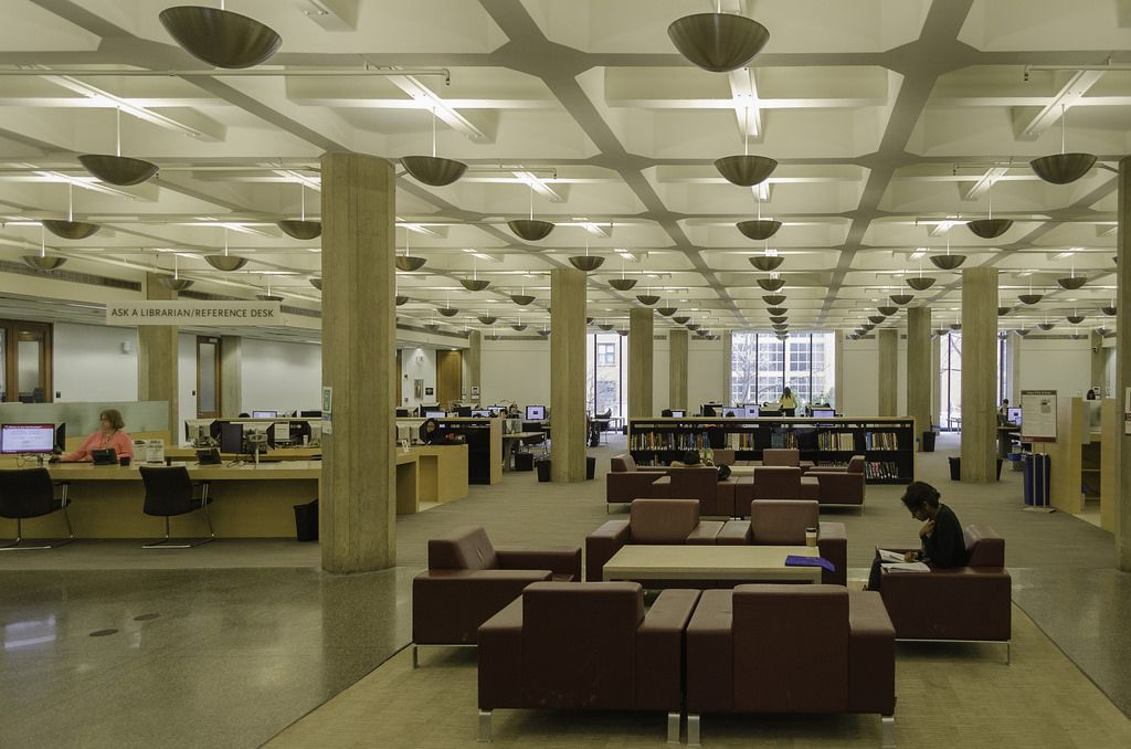 Waffle Slab Ceiling At The Brutalist Joseph Regenstein Library University Of Chicago 1970 Designed By Firm Skidmore Owings Merrill Led
