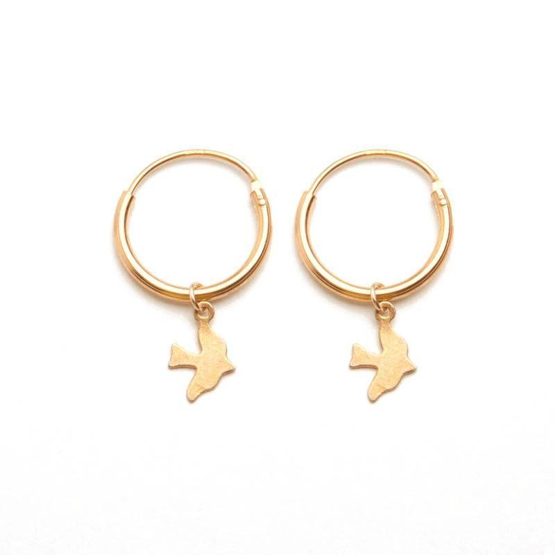01ae669e6 Gold Bird Charm Hoop Earrings   Earrings   Bird jewelry, Hoop ...