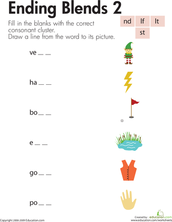 Consonant Blends: Ending Sounds | Consonant blends, Worksheets and ...