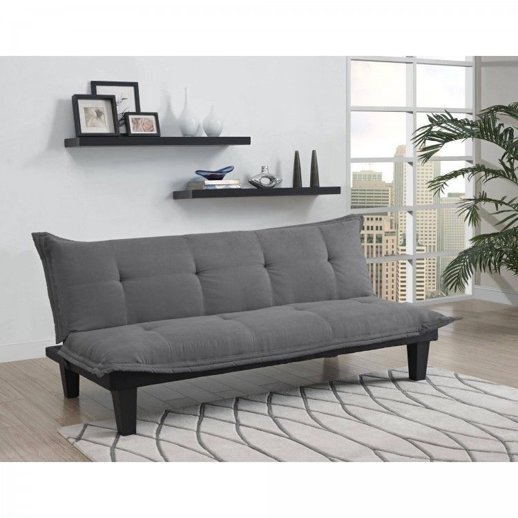 Futon Sofa Bed Dorm Room Sleeper Couch Gray College Furniture Tufted Microfiber Futonsofabed Cabañas
