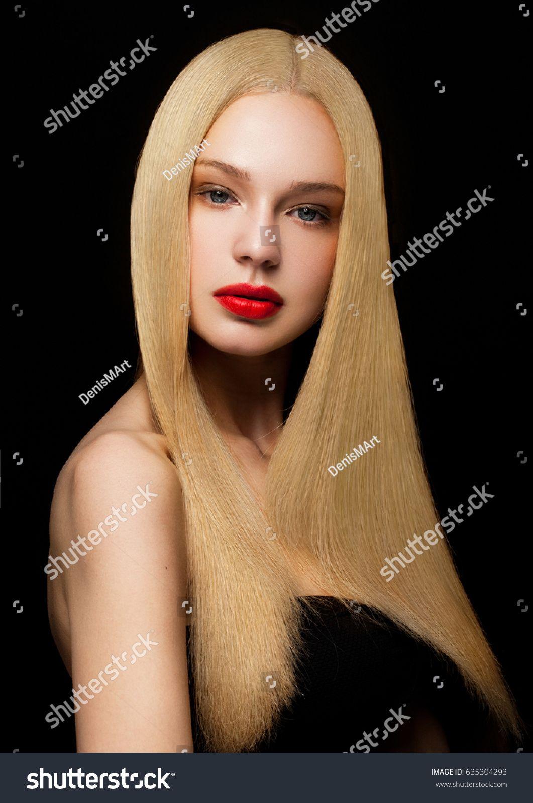 Beauty Fashion Model Portrait Shiny Blonde Stock Photo (Edit Now) 635304293 #lipsbackground