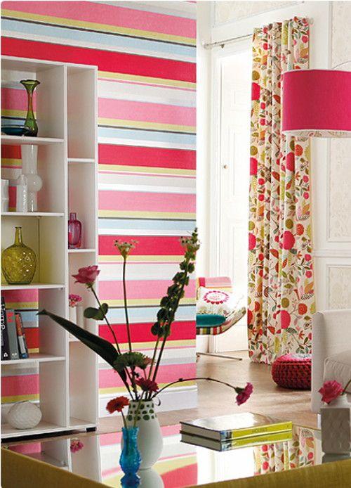 Dekorative Wandgestaltung U2013 Farbige Tapeten Mit Streifen #dekorative  #farbige #streifen #tapeten #wandgestaltung