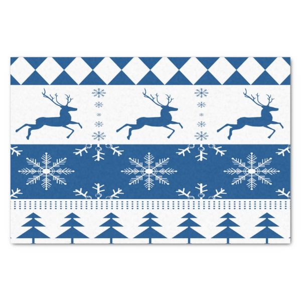 Reindeers and snowflakes blue and white tissue paper #christmas