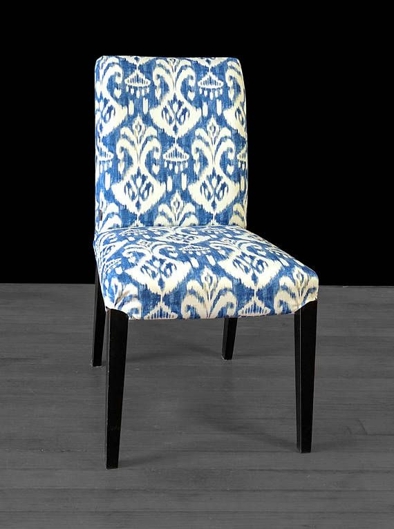 custom chair covers ikea swivel recliner chairs fabric ikat indigo blue henriksdal dining cover