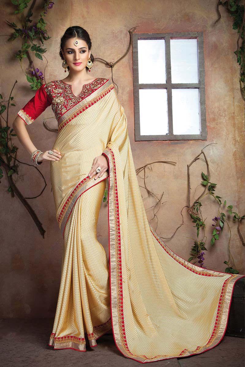Buy cream crepe designer saree online in low price at variation