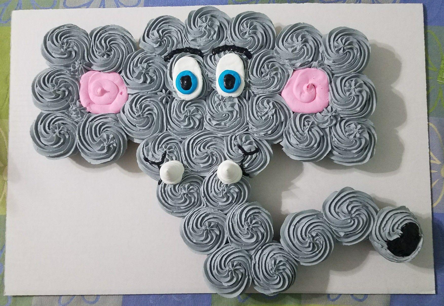 Elephant Cupcake Cake Elephant Cupcakes Baby Shower Cupcake