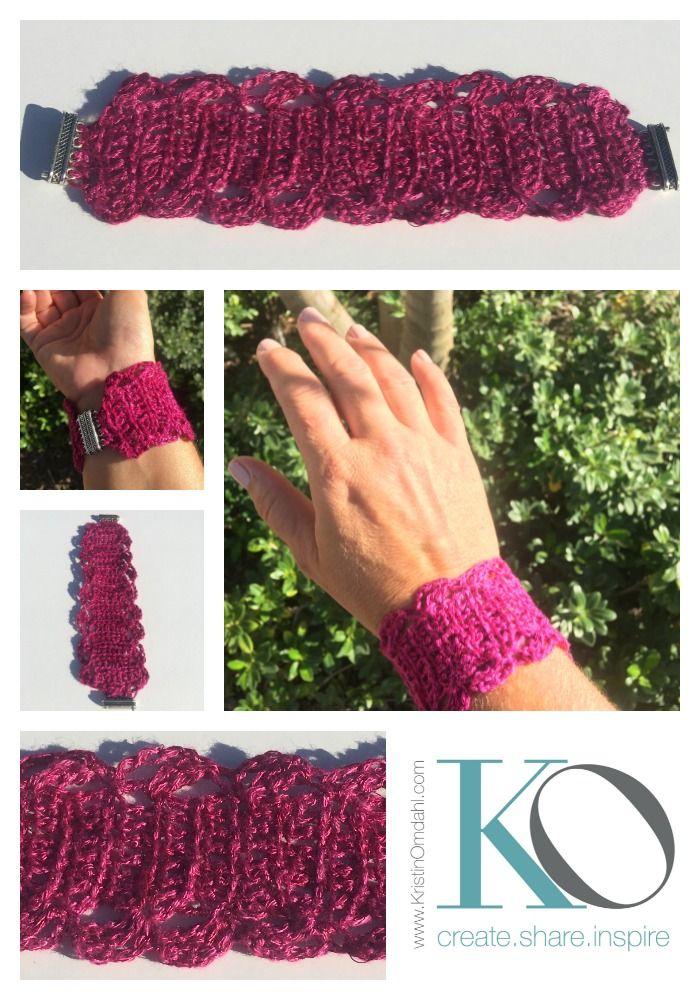 Oct 17 Tunisian Crochet Bracelet in Wire and Yarn FREE Pattern ...