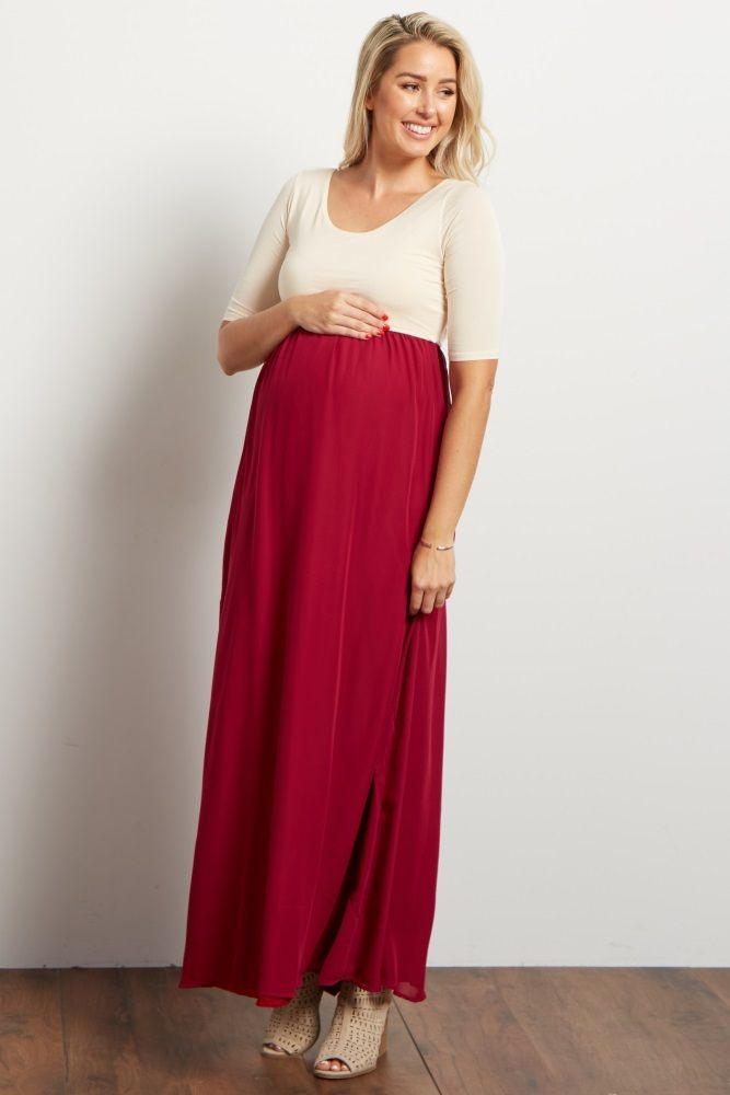 9d3a4bd2d10 Burgundy Chiffon Colorblock Maternity Maxi Dress