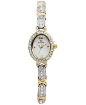 Bulova Women's Crystal Two-Tone Bangle Bracelet Watch 17mm 98L005