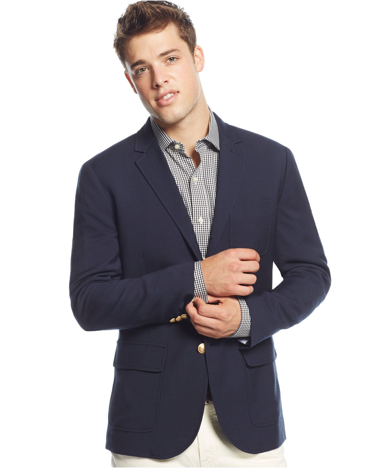 a90e3c164d Tommy Hilfiger Cerruti Navy Two-Button Blazer - Blazers   Sport Coats - Men  - Macy s