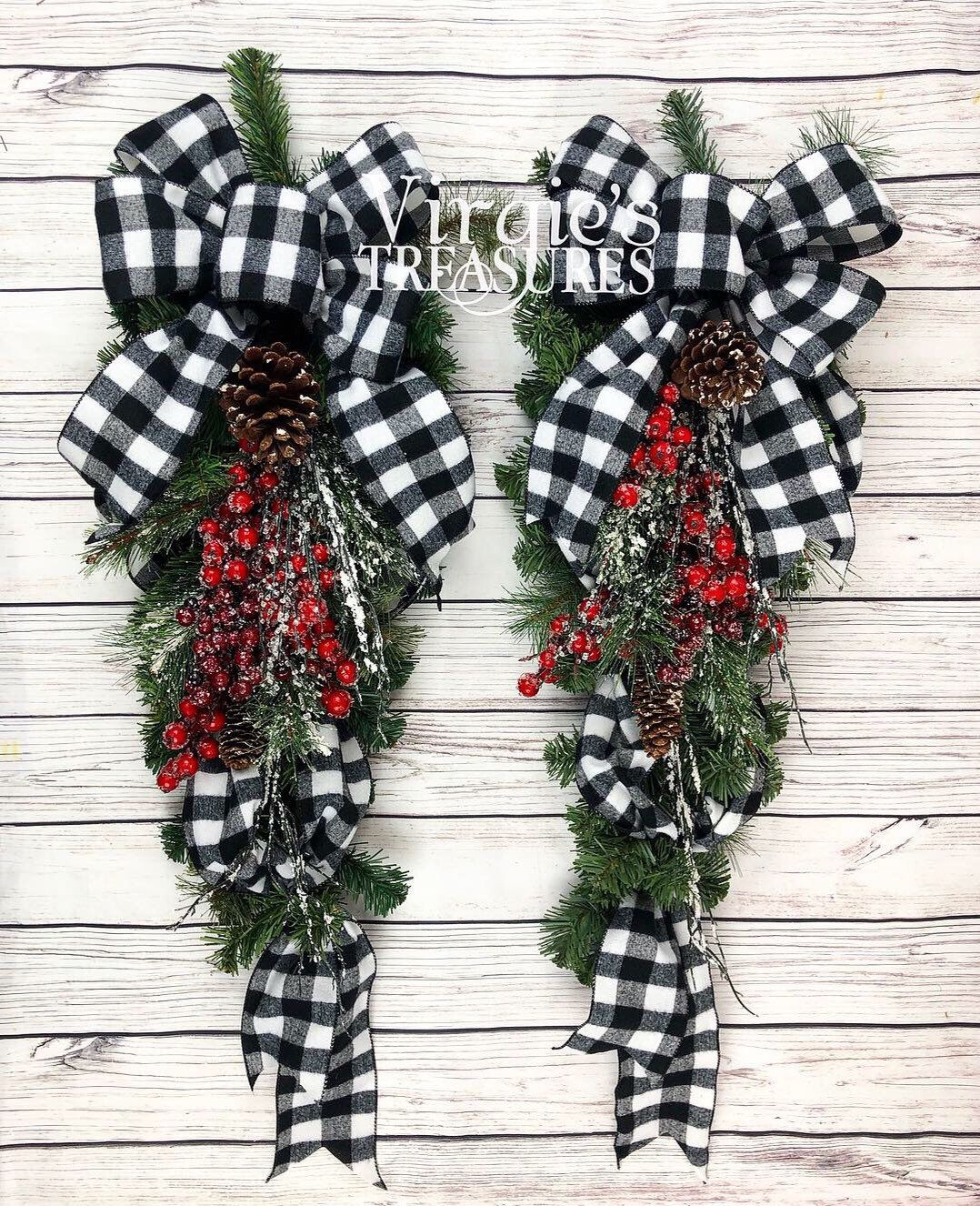 Buffalo Plaid Wreaths for Front Door, Buffalo Plaid Teardrop Swags, Christmas Teardrop Swags, Christmas Swags, Farmhouse Holiday Wreaths -   14 holiday Wreaths design ideas