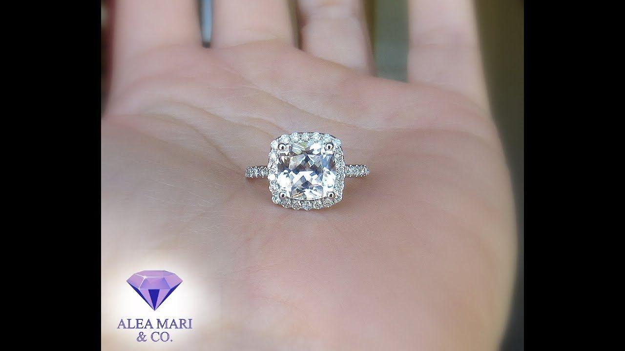 Custom 2 48ctw Cushion White Sapphire And Diamond Engagement Ring 14kt By Aleam Custom Engagement Rings Unique Custom Engagement Ring Diamond Engagement Rings