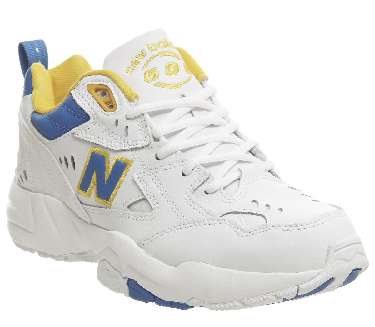 New Balance 608 Trainers White Blue Yellow - Hers trainers ...