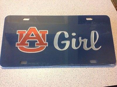 Auburn Tigers Girl Laser Cut Car Tag