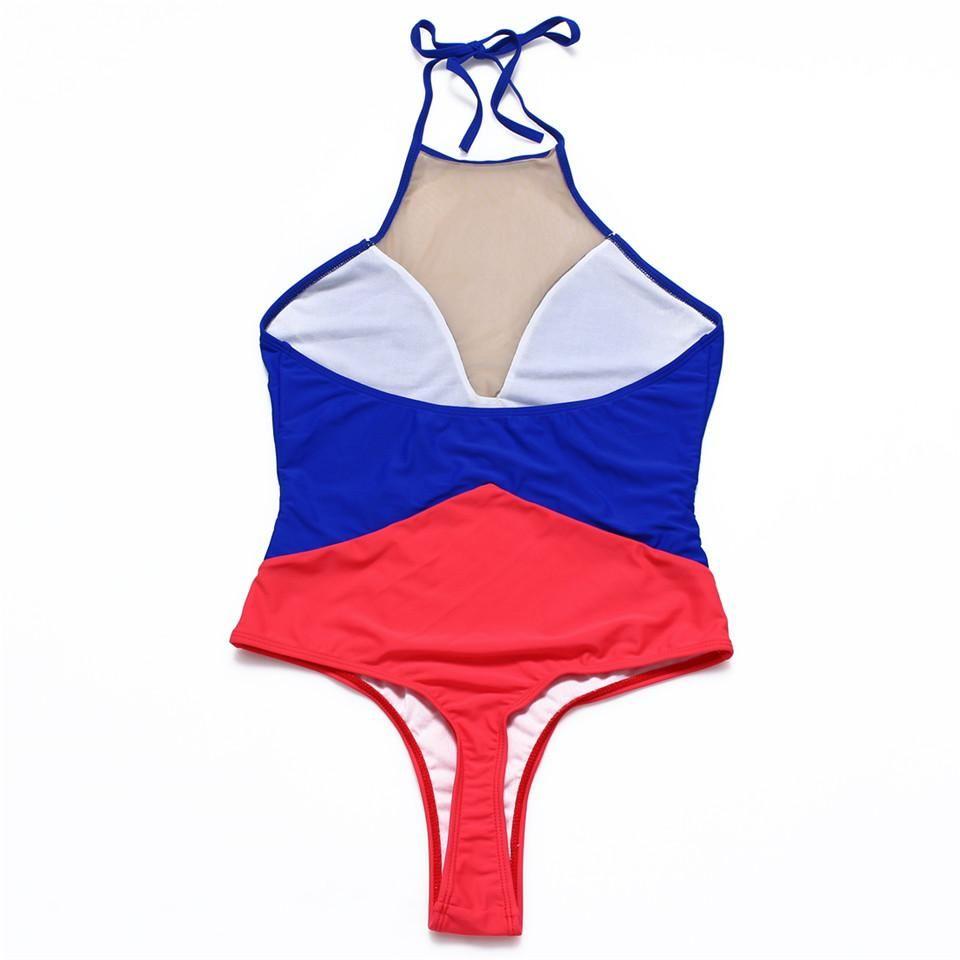 Trangel one piece swimsuit women high cut bikini thong Brazilian swimwear  patchwork monokini halter one piece c27cbedea