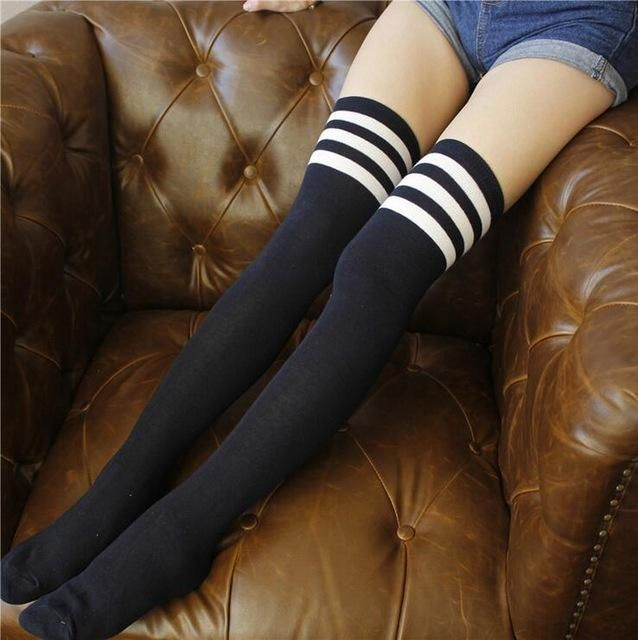 Underwear & Sleepwears 1 Pair High Hot Cotton Thigh Highs Stocking Women Plus Size Over Knee Long Leg Warmers Meias Striped Stockings Comfortable And Easy To Wear Stockings