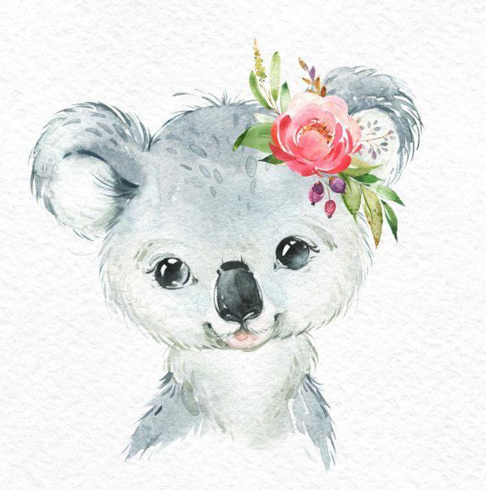 Kleiner Koala-roter Panda-Panda. Aquarell Tiere Clipart, Porträt, Blumen, Kind, niedlich, Kinderzimmer Kunst, Natur, realistisch, Freunde, Baby-Dusche #kinderzimmerkunst
