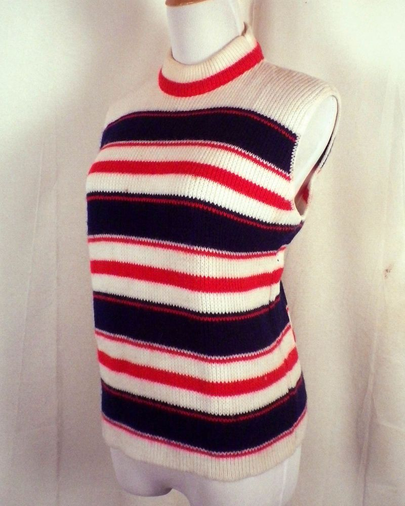 vtg 60s 70s Elmar California Red White & Blue Striped Sweater ...