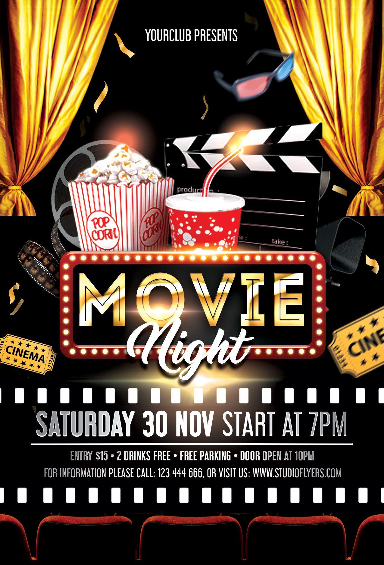 Movie Night Free Psd Flyer Template Studioflyers Com Free Psd Flyer Templates Movie Night Flyer Free Psd Flyer
