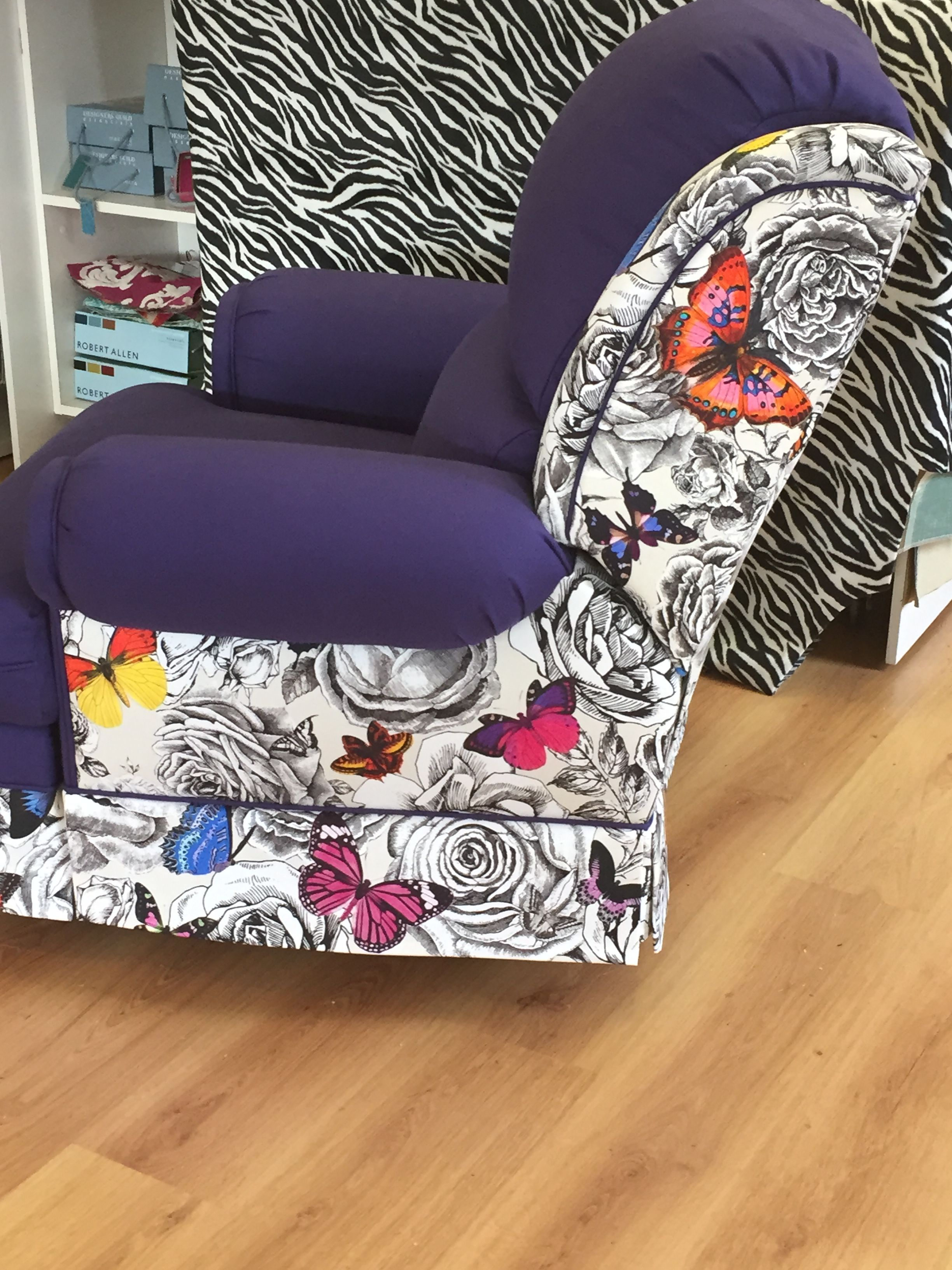 Merveilleux Ou0026L Butterfly Fabric On A Custom Upholstered Recliner Arm Chair
