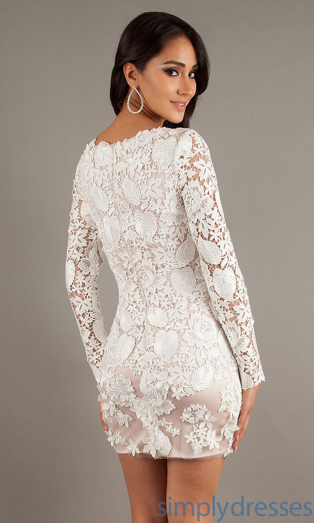 Short White Lace Dress With Long Sleeves
