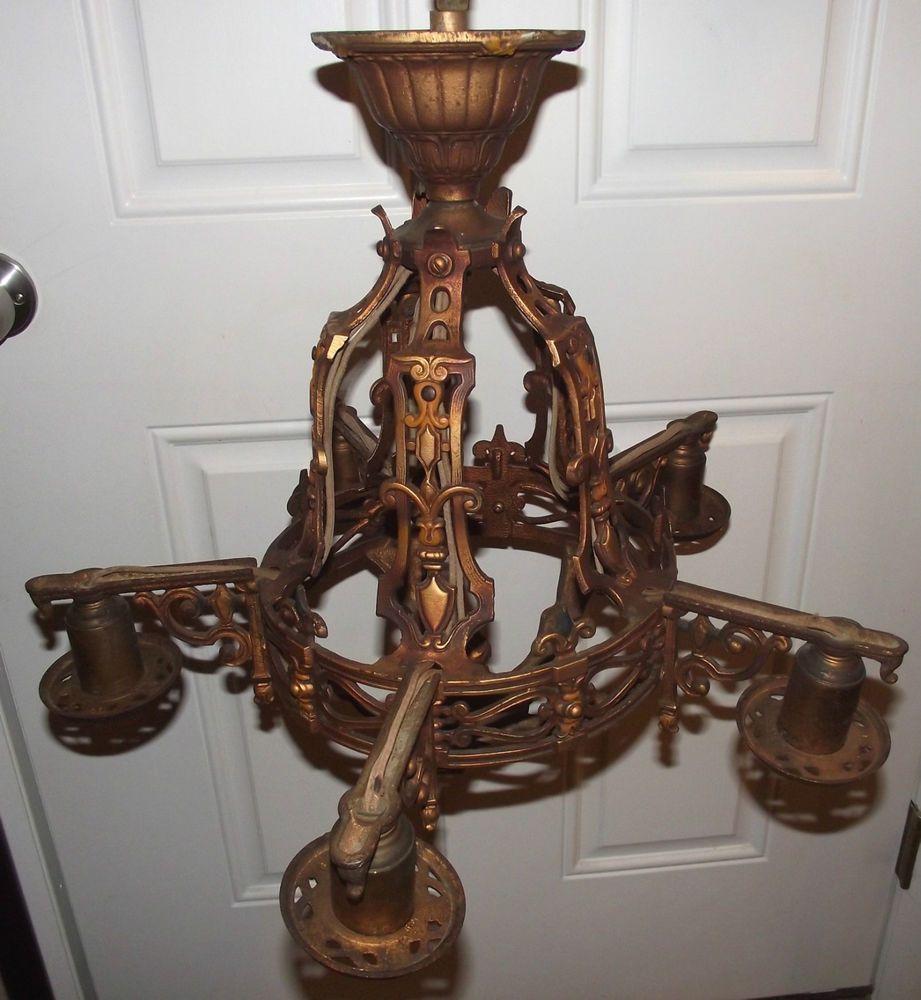 Old antique vintage markel cast iron chandelier fleur de lis needs old antique vintage markel cast iron chandelier fleur de lis needs rewire repair arubaitofo Gallery