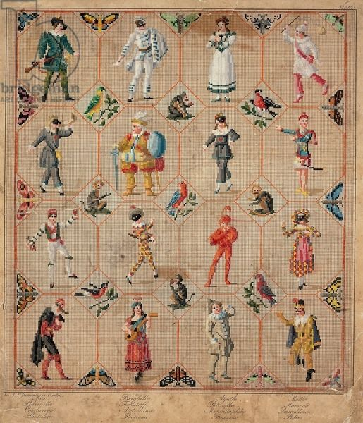 masks of commedia dellarte characters with costumes and