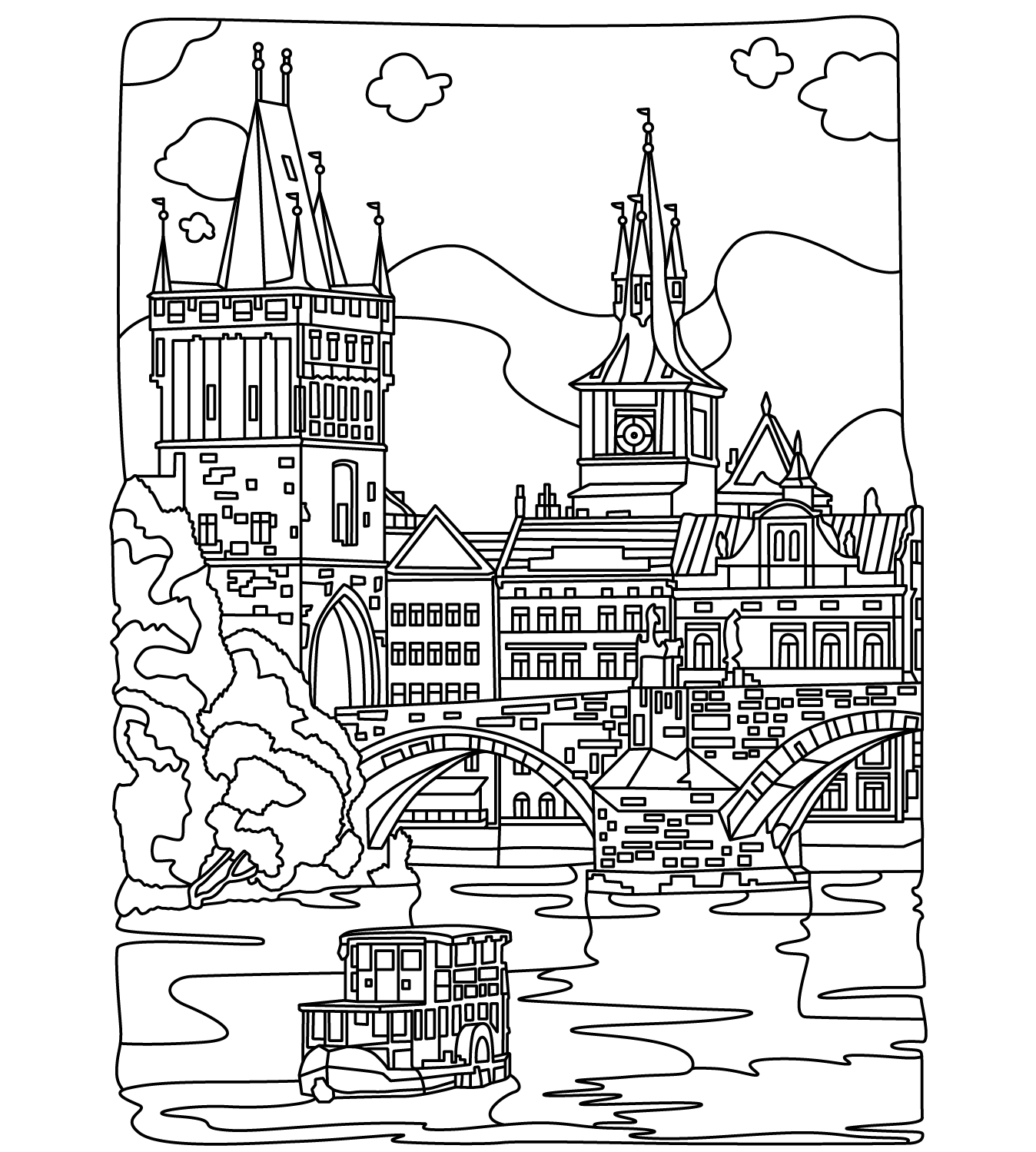 Cities coloring page | Colorish: free coloring app for ...