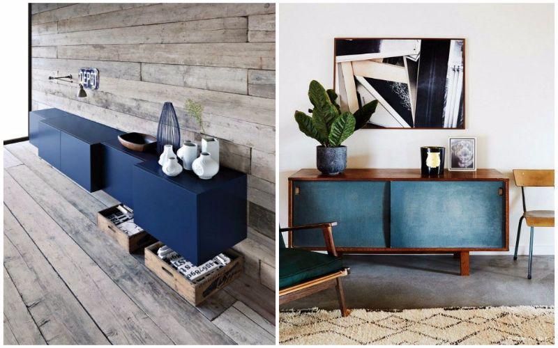Los aparadores rusticos de color azul son genial para combinar con tonos grises decoracion Decoracion aparadores