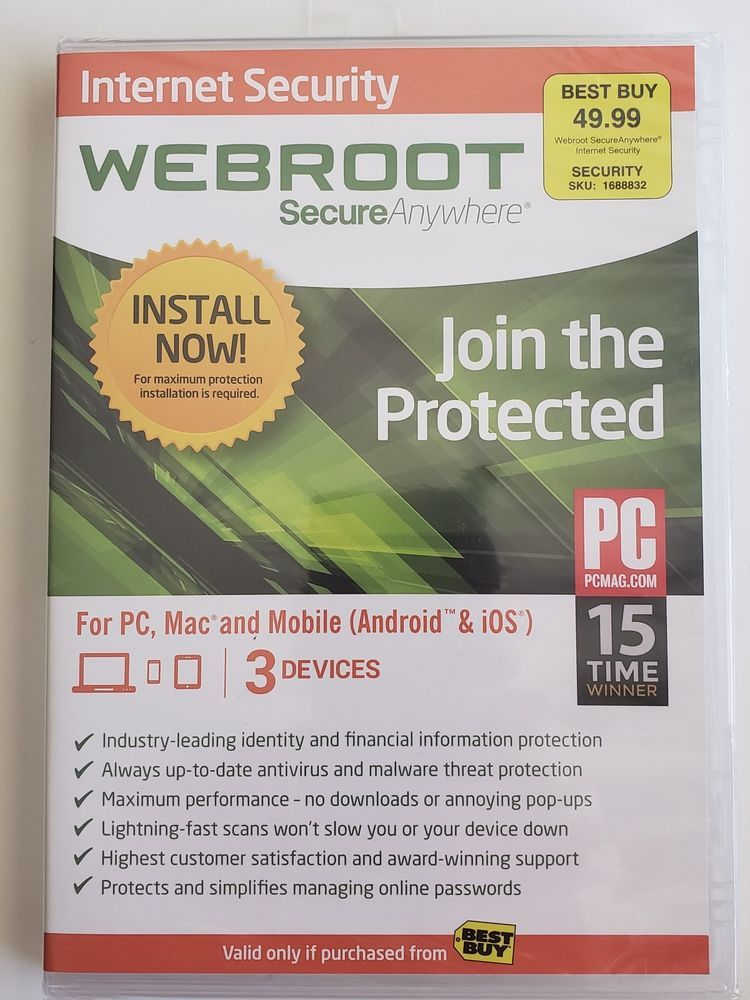 Sealed Webroot Internet Security Plus 2014 3-Devices PC Mac
