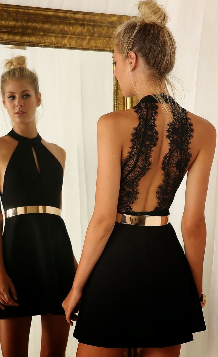 Cut out little black dress with lace back and golden belt get in