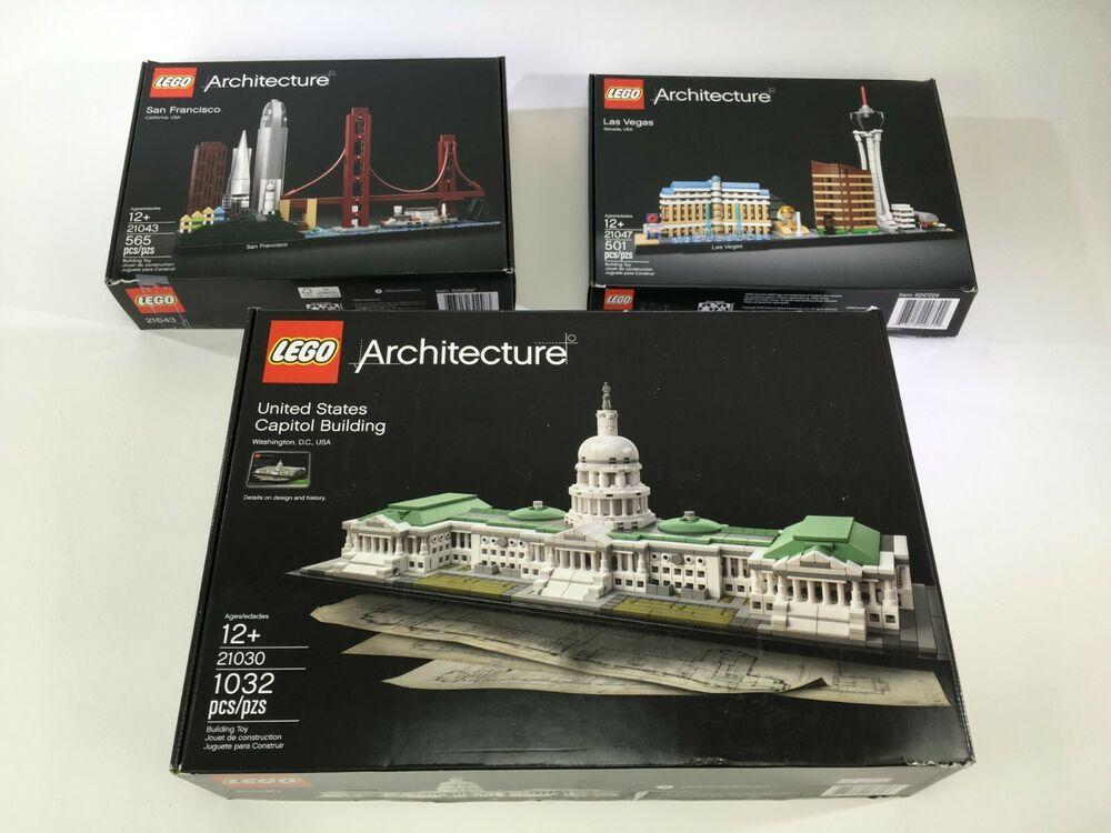 Lego Architecture Set Lot Us Capitol 21030 Las Vegas 21047 San Francisco 21043 Lego Lego Architecture Lego Architecture Set Lego
