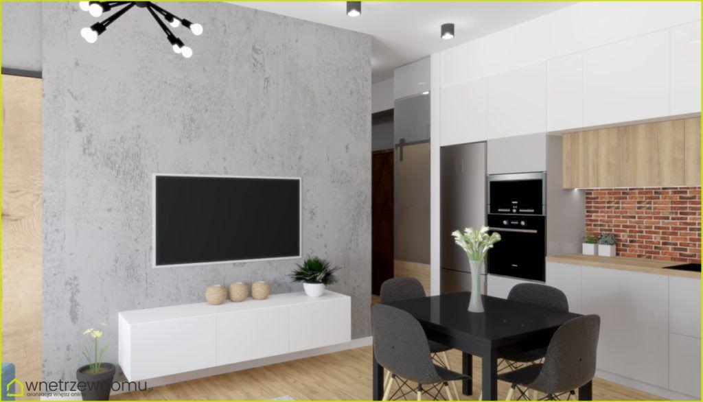 Salon Z Aneksem Kuchennym Tapeta Imitująca Beton Na ścianie