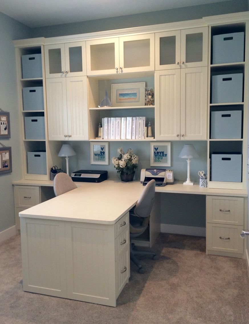 The Office Has A Shared Desk And Lots Of Storage With Cloth Totes On Shelves As Well As Drawers With Hang Home Office Closet Bars For Home Custom Closet Design Desk with lots of storage