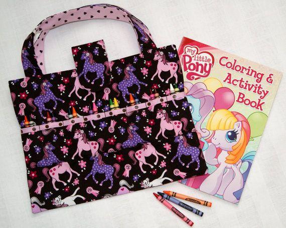 Coloring Book Organizer : Pink ~ purple ponies coloring book & crayon tote art supply