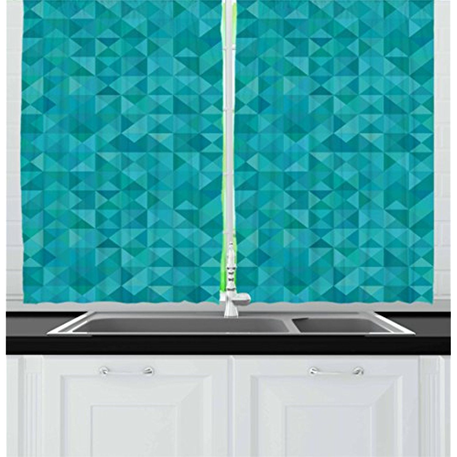 Teal Kitchen Curtains By Ambesonne Geometrical Shapes Triangles Squares Modern Abstract Art Different Shades Of