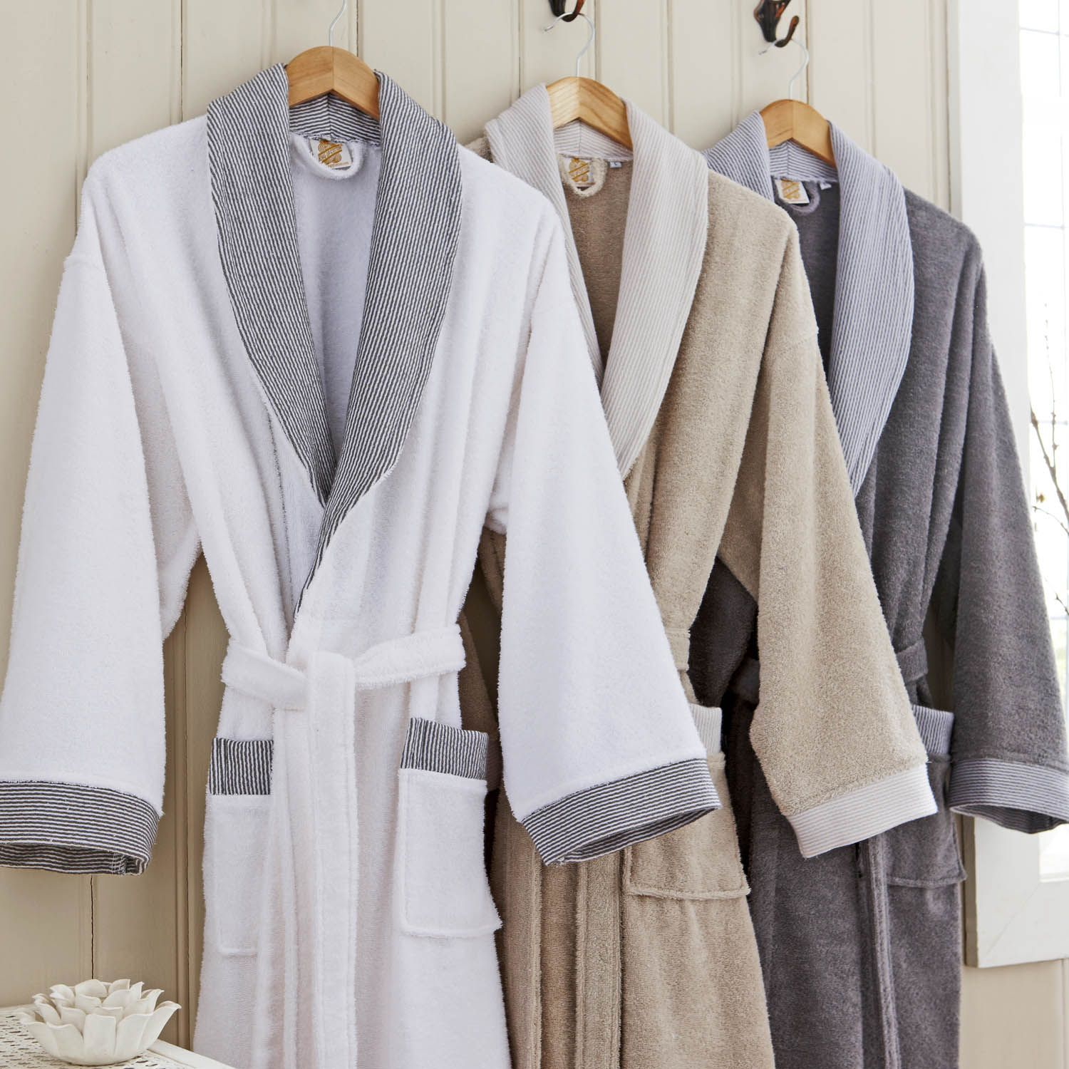 Waffled Dressing Gown Dressing Gown In A Soft Waffle Weave With - Bathroom robes