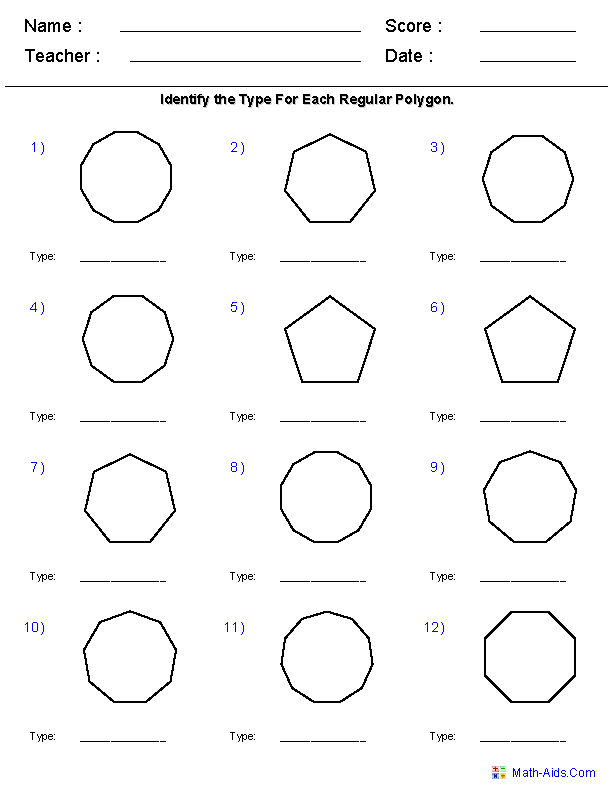 Geometry Worksheets Quadrilaterals And Polygons Worksheets In 2020 Geometry Worksheets Regular Polygon Angles Worksheet