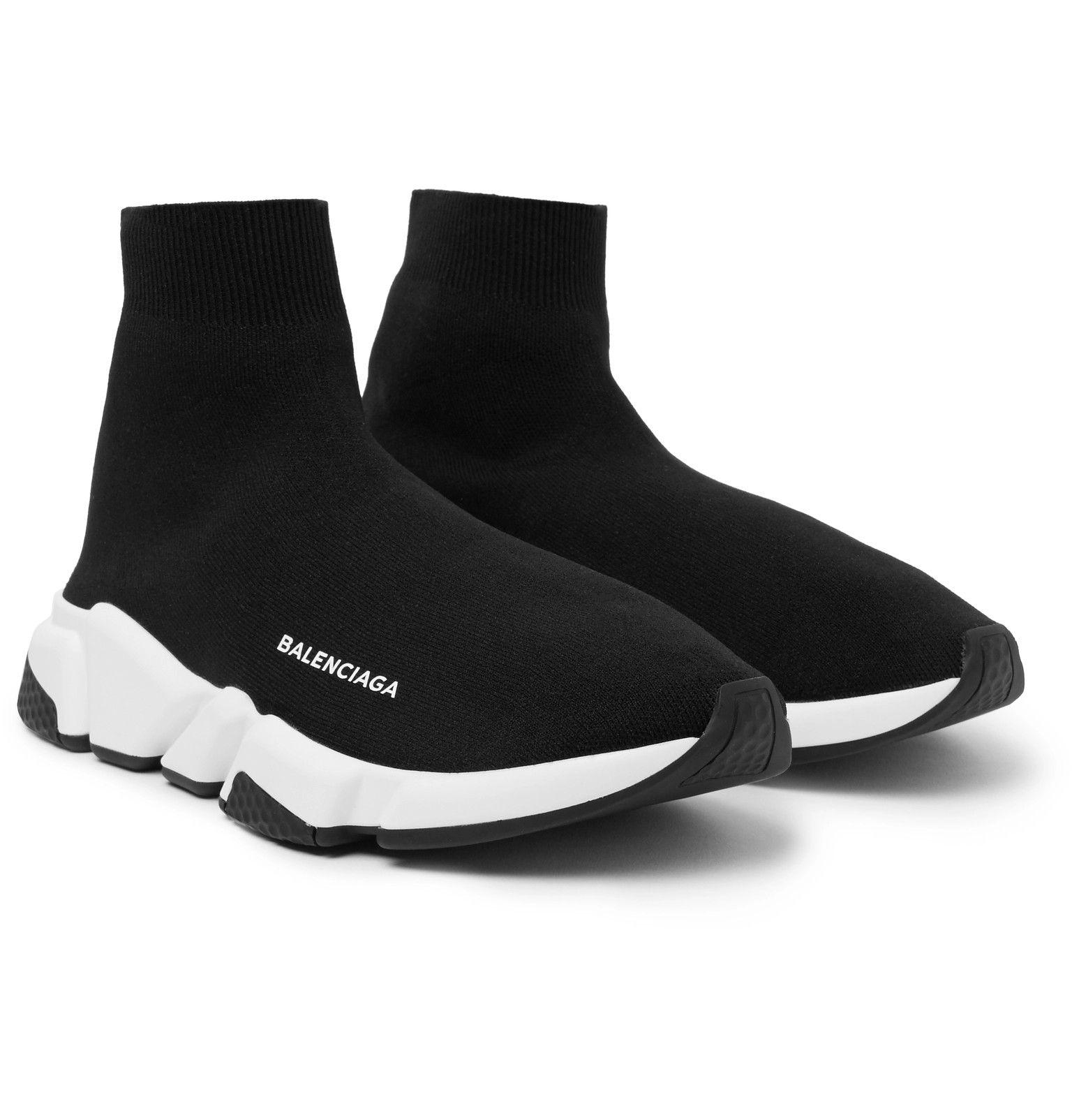 Black Speed Sock Stretch-Knit Slip-On