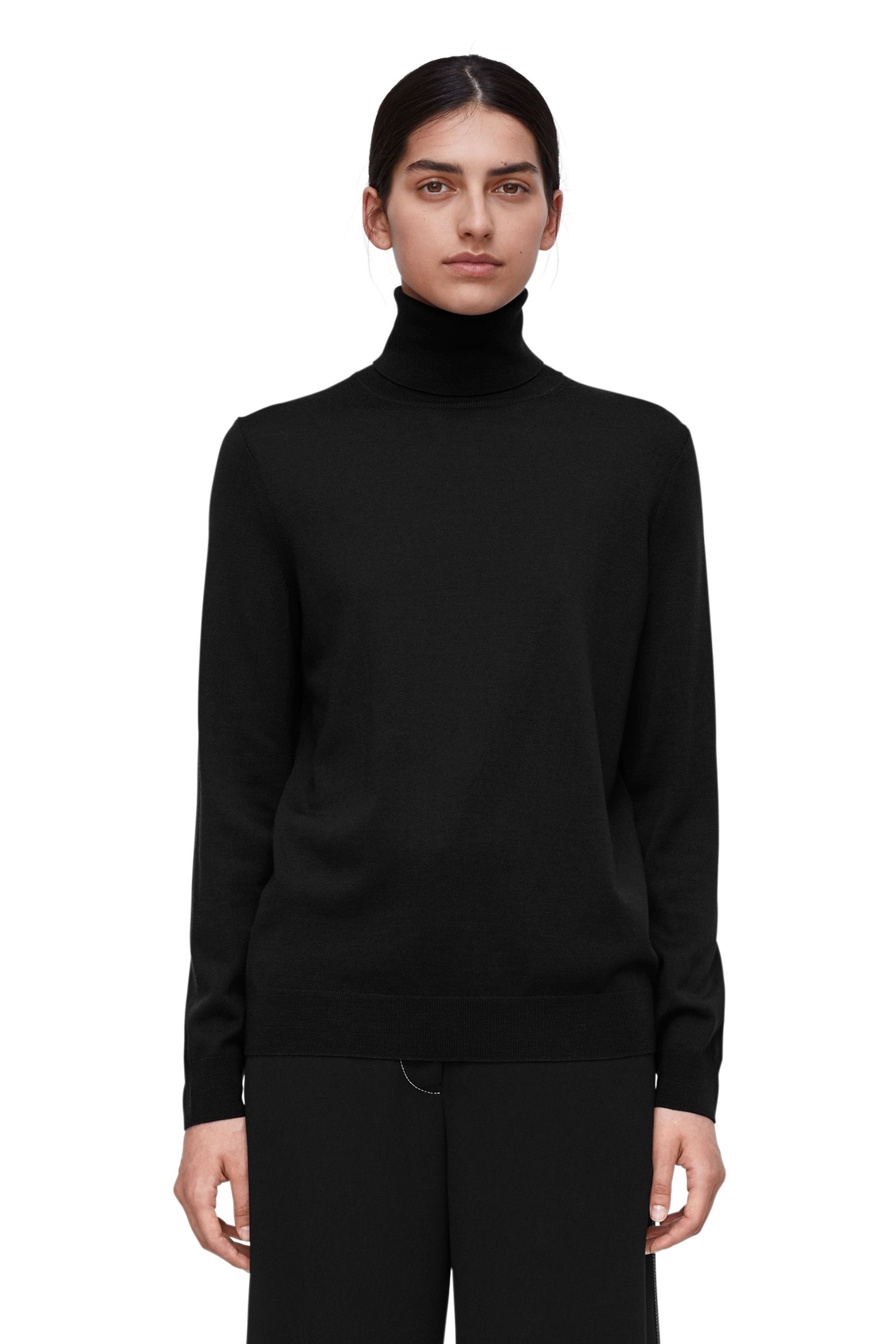 bd2538cdd69358 Merino Roll-Neck Jumper - Black - Knitwear | WISH LIST | Roll neck ...
