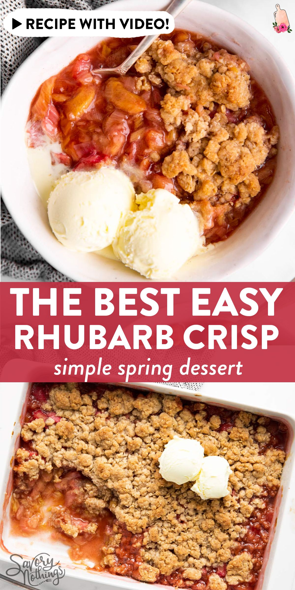 This easy rhubarb crisp is the best spring dessert out there! Quick and easy to bake with mostly pantry staples (can use frozen rhubarb!), this is a recipe you don't want to miss. Great for Easter, too! | #springrecipes #easterrecipes #easybakingrecipes #pantryrecipes #easyrecipes