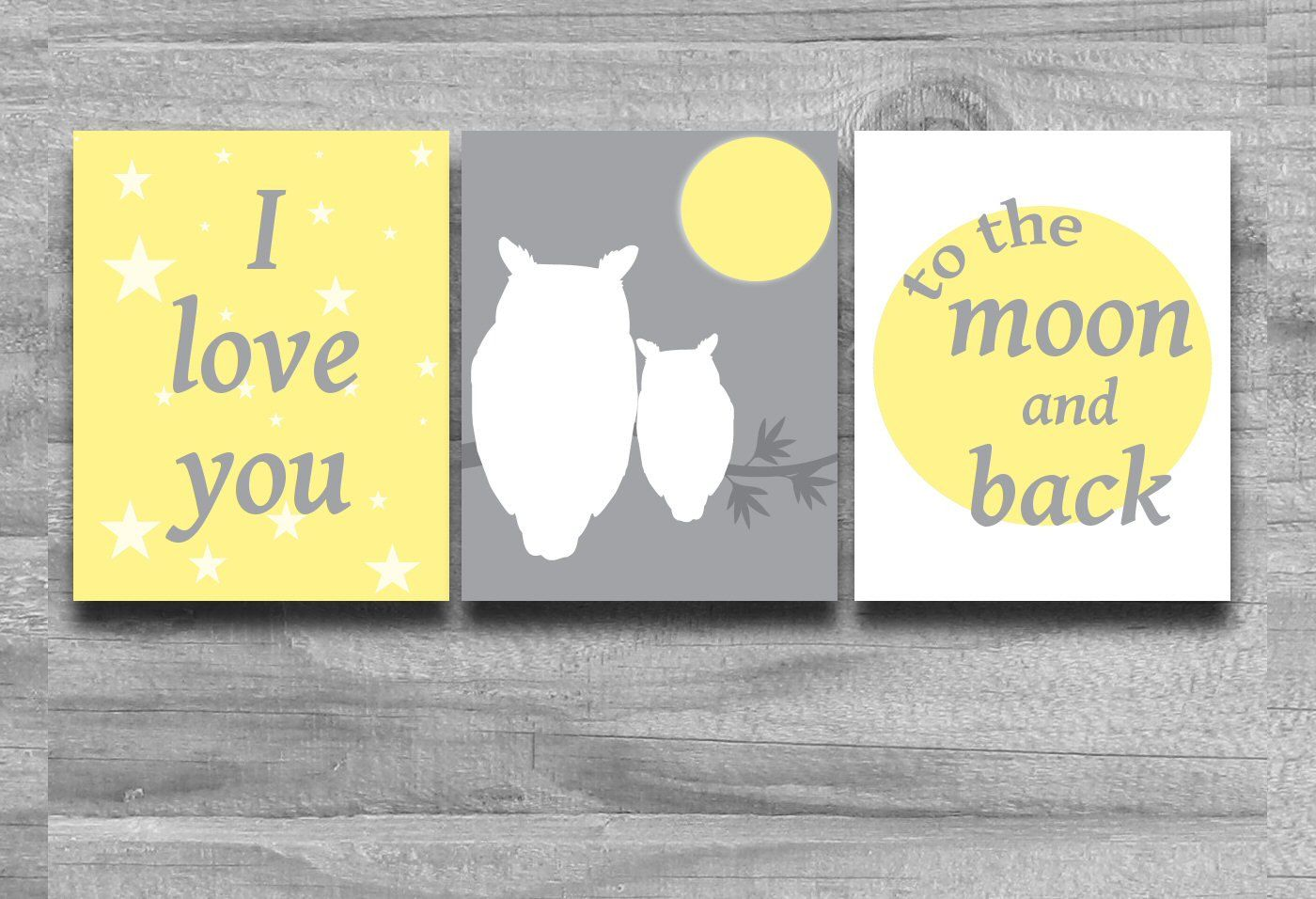 BLACK FRIDAY SALE Nursery Wall Art, Owl Prints Yellow Gray, Set of 3 ...