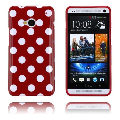Polka Dots (Viininpunainen) HTC One Suojakuori