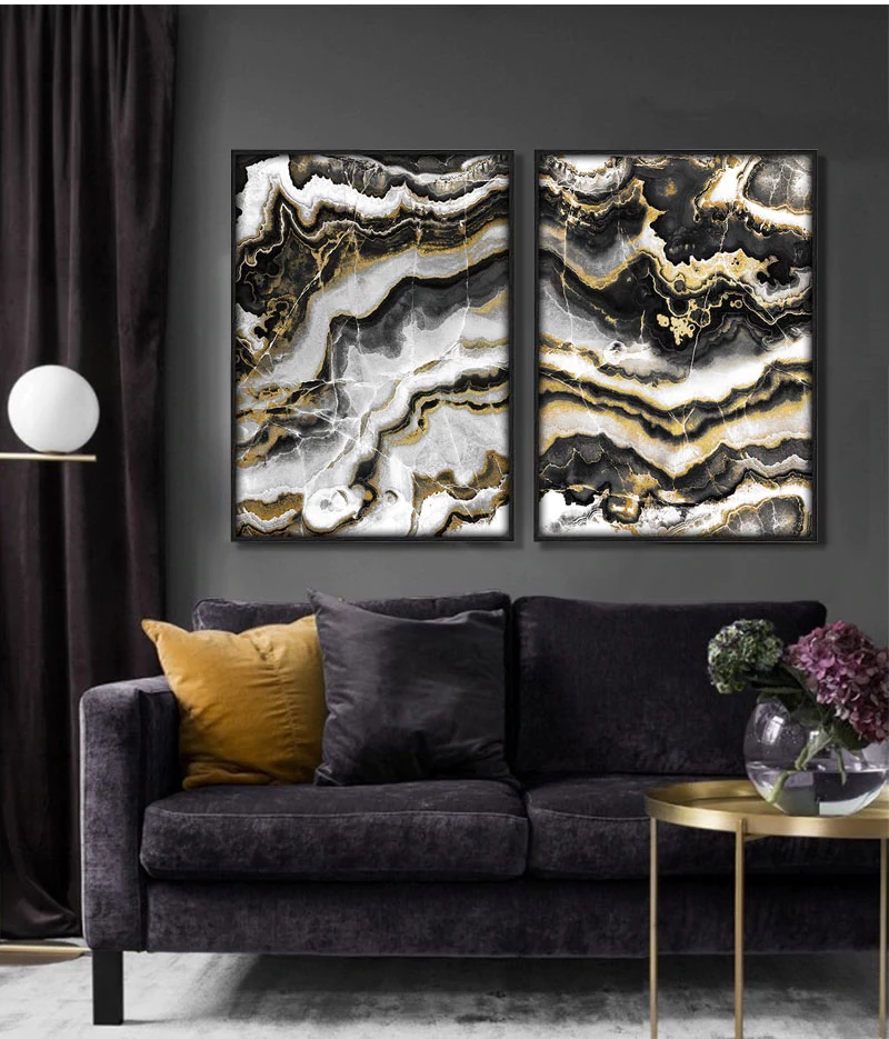 Black Gold Marble Abstract Wall Art Modern Luxury Fine Art ...