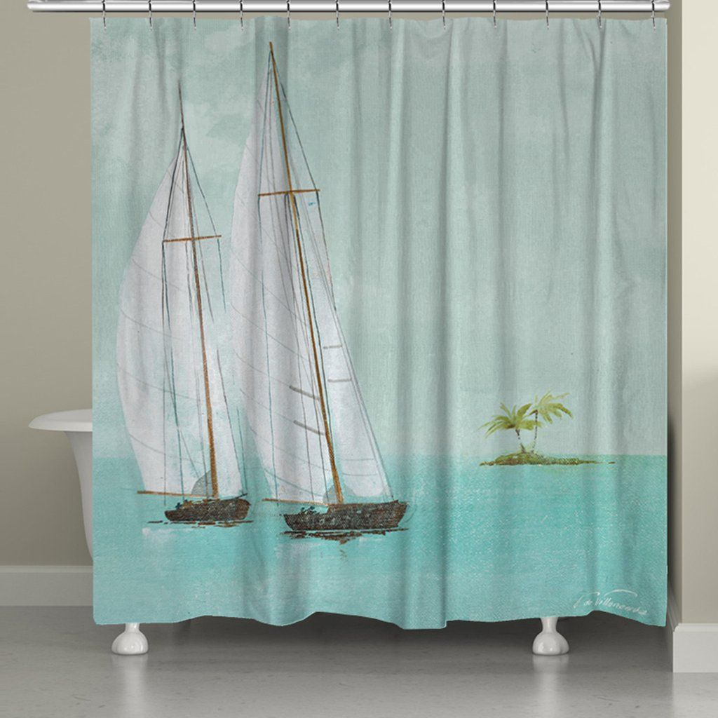 Tropical Sailboats Shower Curtain By Fabrice De Villeneuve