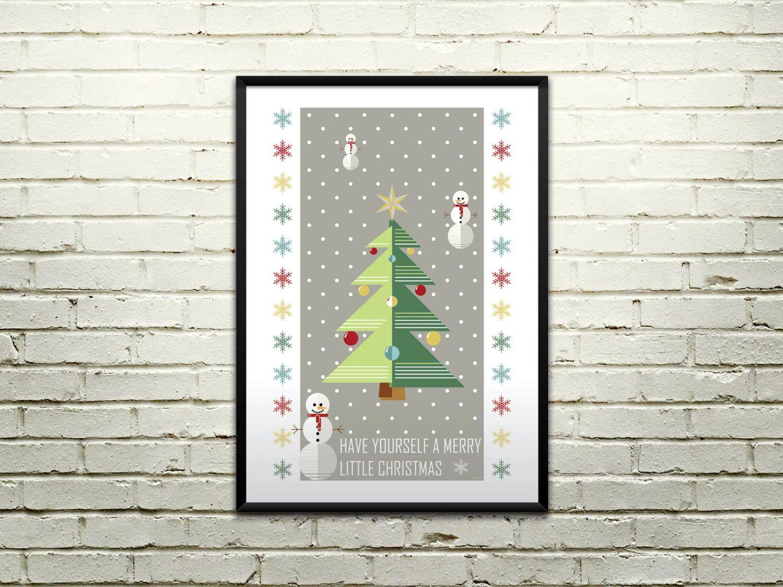 Vintage Christmas Tree Print, 11 x 16 Instant Download, Printable ...