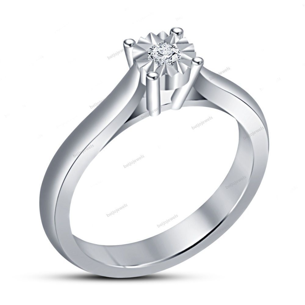 0.70 Carat 14k White Gold Finish Silver Round & Simulated Diamond Women's…