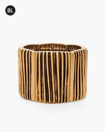 Burnished etched detail and a segmented design make this gold-tone bracelet a must-have for every moment to shine.   Individual style. Clean, modern lines. The Exclusive Black Label by Chico's™ collection.   Stretch design.  Metal, acrylic.  Imported.