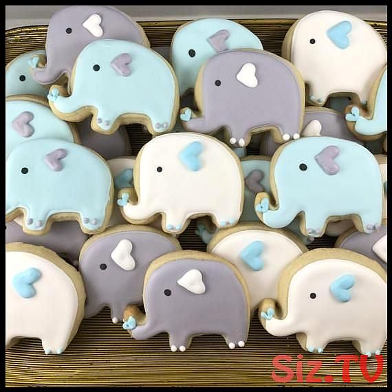 Elephant sugar cookies Elephant sugar cookies Gen Lopez Save Images Gen Lopez Two dozen adorable elephant Sugar cookies in your choice of flavor with royal icing Cookie m...